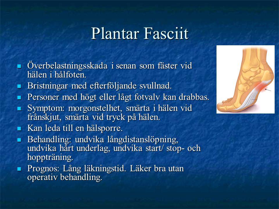 Plantar Fasciit  Överbelastningsskada i senan som fäster vid hälen i hålfoten.  Bristningar med efterföljande svullnad.  Personer med högt eller lå