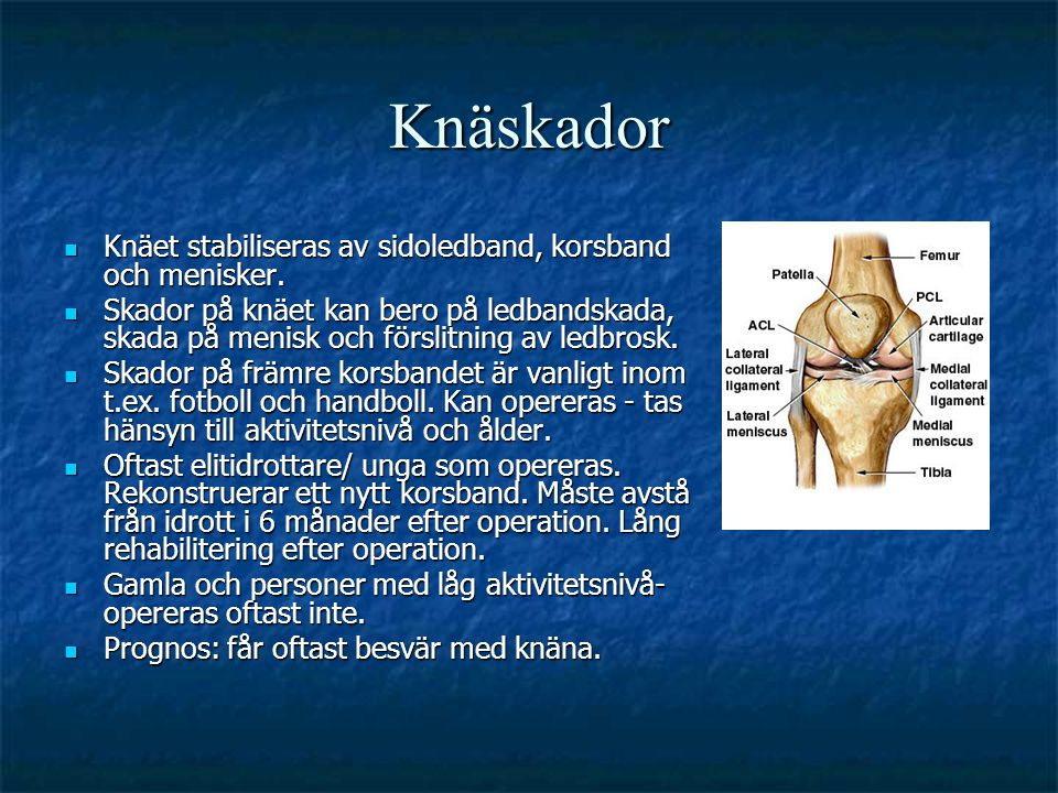 Knäskador  Knäet stabiliseras av sidoledband, korsband och menisker.  Skador på knäet kan bero på ledbandskada, skada på menisk och förslitning av l