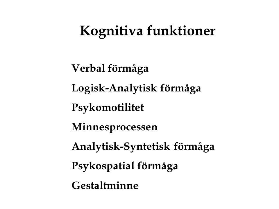 Kognitiva funktioner Verbal förmåga Logisk-Analytisk förmåga Psykomotilitet Minnesprocessen Analytisk-Syntetisk förmåga Psykospatial förmåga Gestaltmi