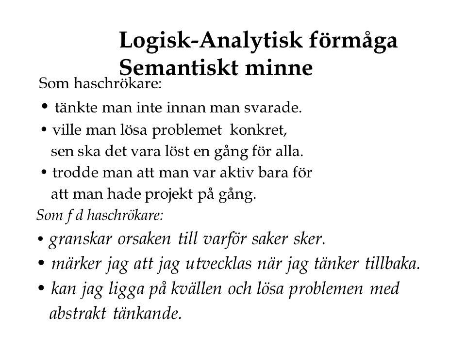 Logisk-Analytisk förmåga Semantiskt minne Som haschrökare: • tänkte man inte innan man svarade. • ville man lösa problemet konkret, sen ska det vara l
