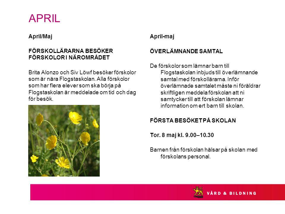 APRIL April/Maj FÖRSKOLLÄRARNA BESÖKER FÖRSKOLOR I NÄROMRÅDET Brita Alonzo och Siv Löwf besöker förskolor som är nära Flogstaskolan.