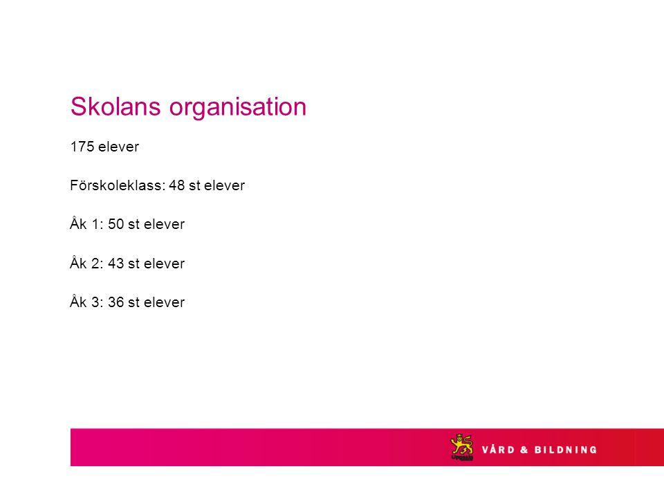 Skolans organisation 175 elever Förskoleklass: 48 st elever Åk 1: 50 st elever Åk 2: 43 st elever Åk 3: 36 st elever