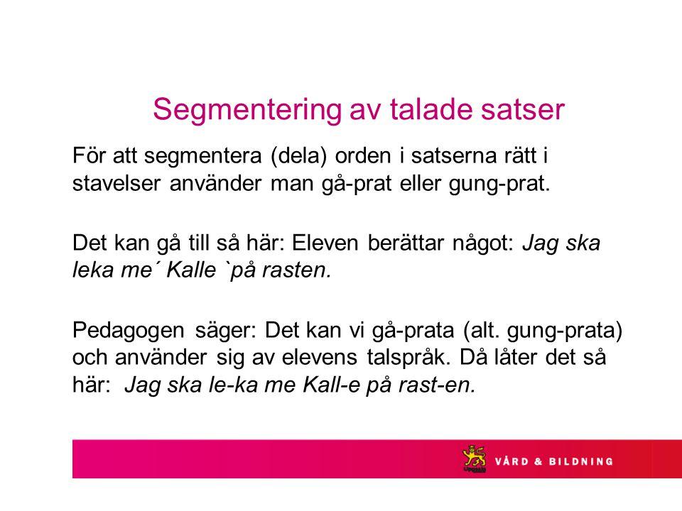 Segmentering av talade satser För att segmentera (dela) orden i satserna rätt i stavelser använder man gå-prat eller gung-prat. Det kan gå till så här
