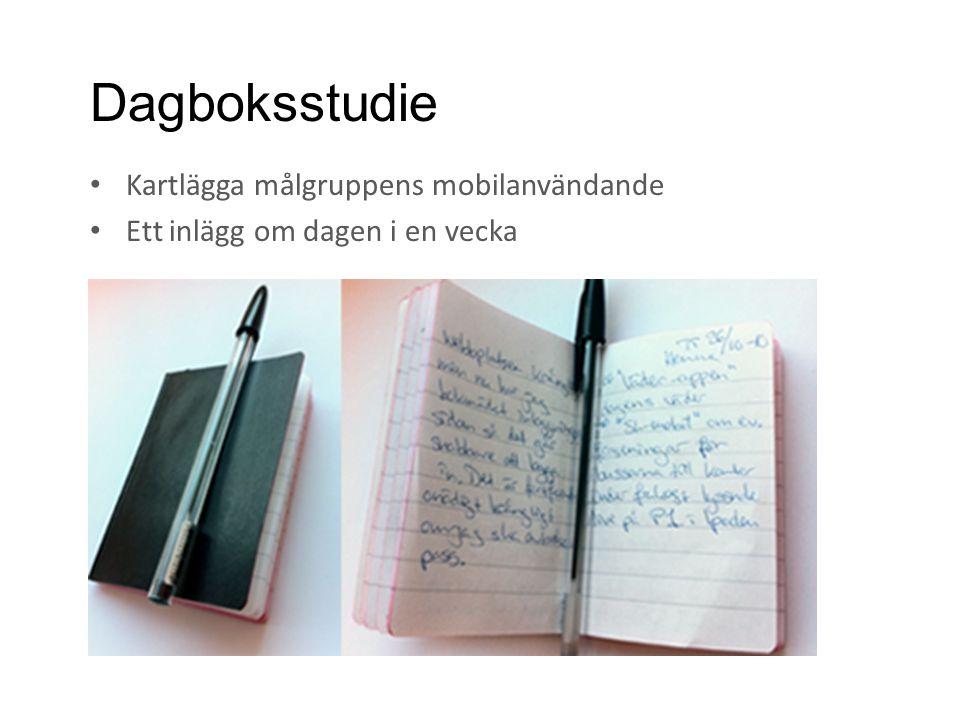 Dagboksstudie • Kartlägga målgruppens mobilanvändande • Ett inlägg om dagen i en vecka