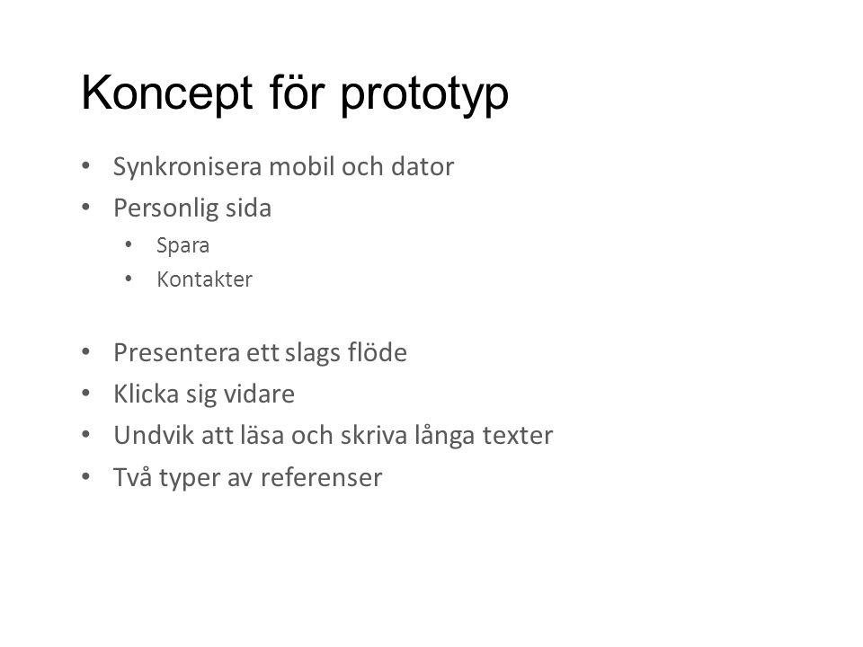 Koncept för prototyp • Synkronisera mobil och dator • Personlig sida • Spara • Kontakter • Presentera ett slags flöde • Klicka sig vidare • Undvik att läsa och skriva långa texter • Två typer av referenser