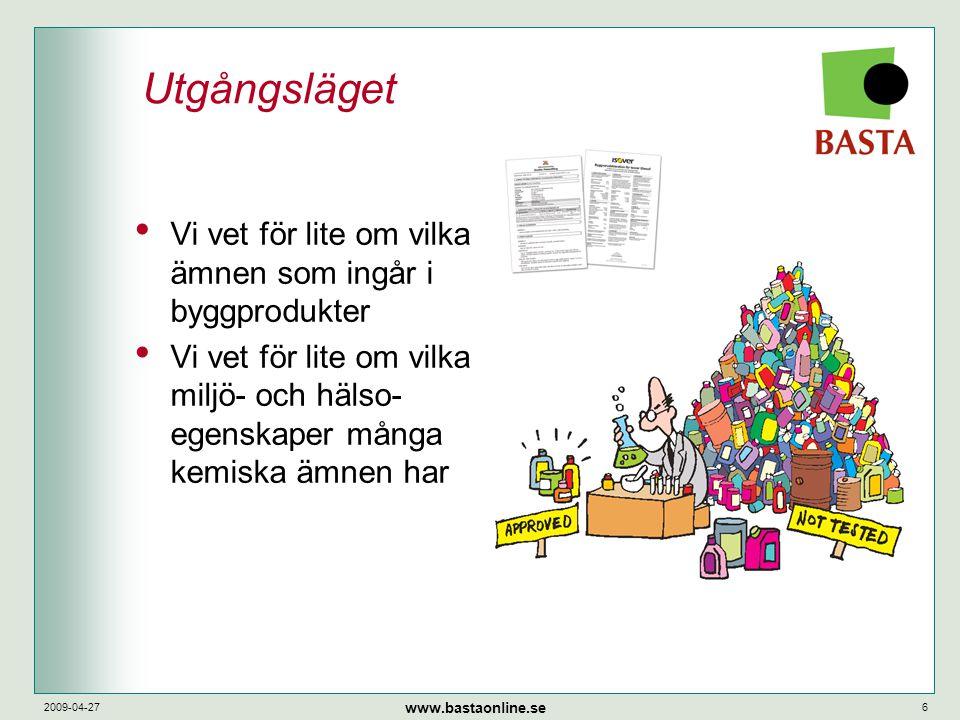www.bastaonline.se 2009-04-276 Utgångsläget • Vi vet för lite om vilka ämnen som ingår i byggprodukter • Vi vet för lite om vilka miljö- och hälso- eg