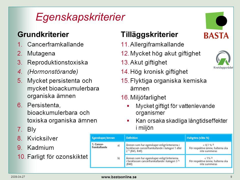 www.bastaonline.se 2009-04-279 Egenskapskriterier Tilläggskriterier 11.Allergiframkallande 12.Mycket hög akut giftighet 13.Akut giftighet 14.Hög kroni