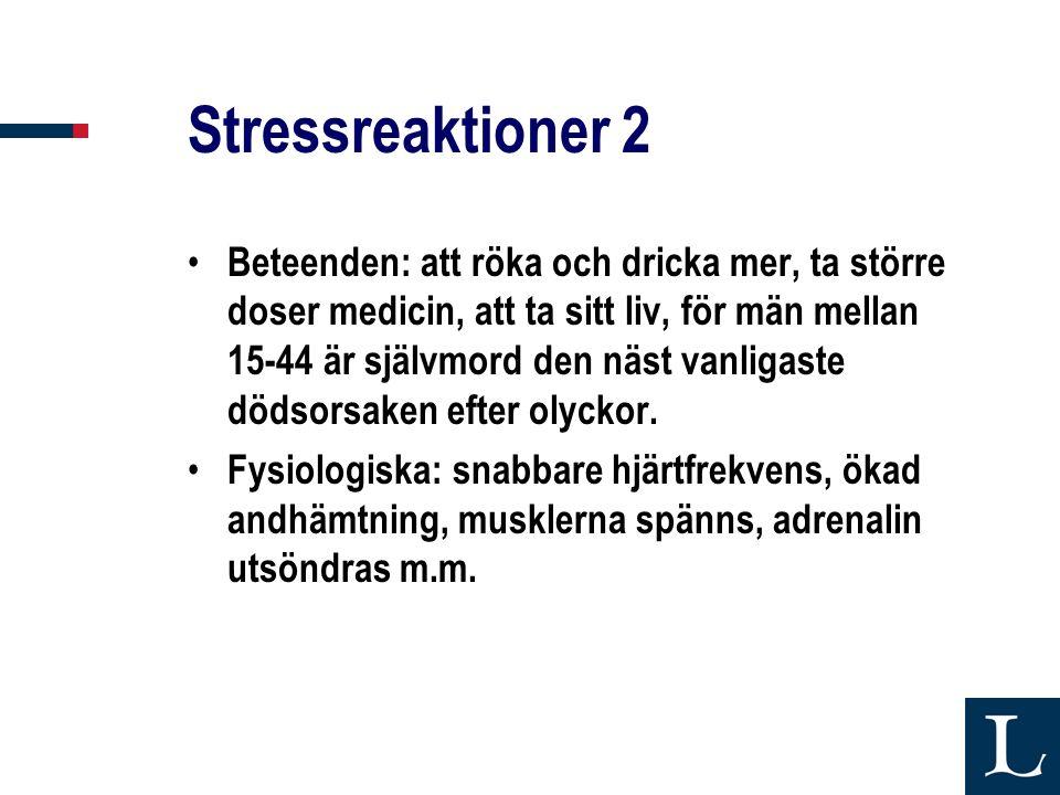 Stressreaktioner 2 • Beteenden: att röka och dricka mer, ta större doser medicin, att ta sitt liv, för män mellan 15-44 är självmord den näst vanligaste dödsorsaken efter olyckor.