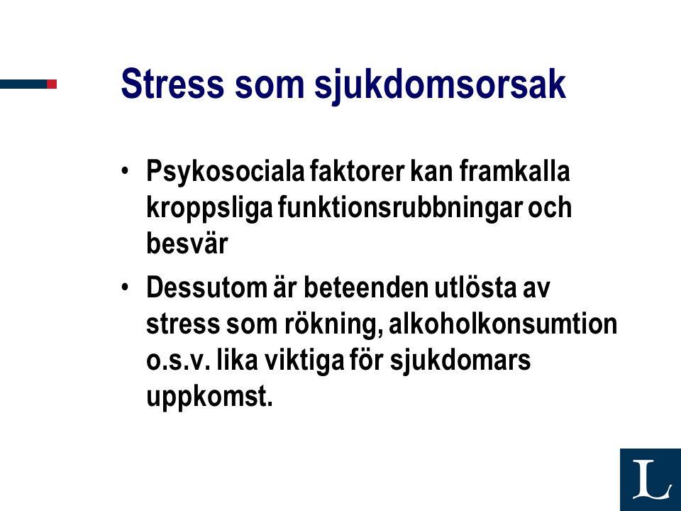 Stress som sjukdomsorsak • Psykosociala faktorer kan framkalla kroppsliga funktionsrubbningar och besvär • Dessutom är beteenden utlösta av stress som rökning, alkoholkonsumtion o.s.v.
