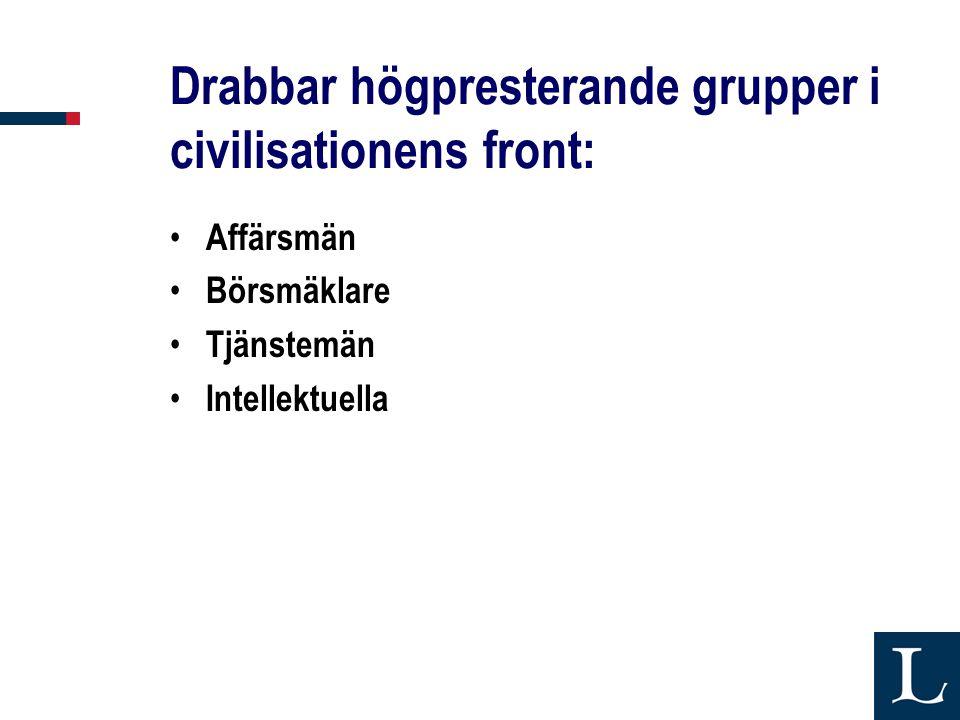 Drabbar högpresterande grupper i civilisationens front: • Affärsmän • Börsmäklare • Tjänstemän • Intellektuella