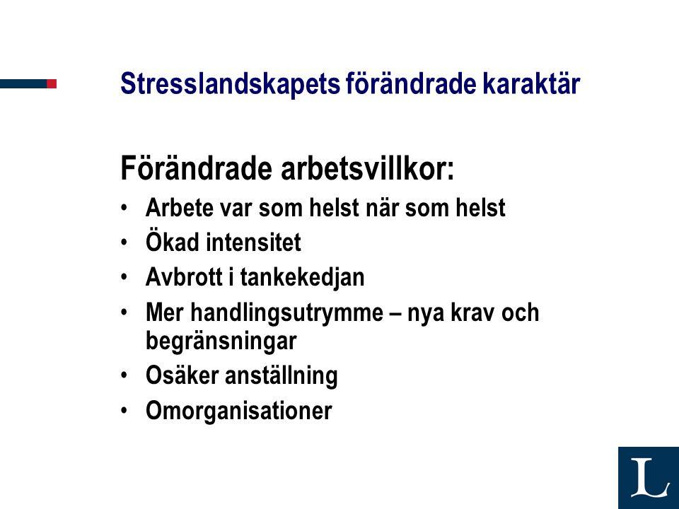 Stresslandskapets förändrade karaktär Förändrade arbetsvillkor: • Arbete var som helst när som helst • Ökad intensitet • Avbrott i tankekedjan • Mer h