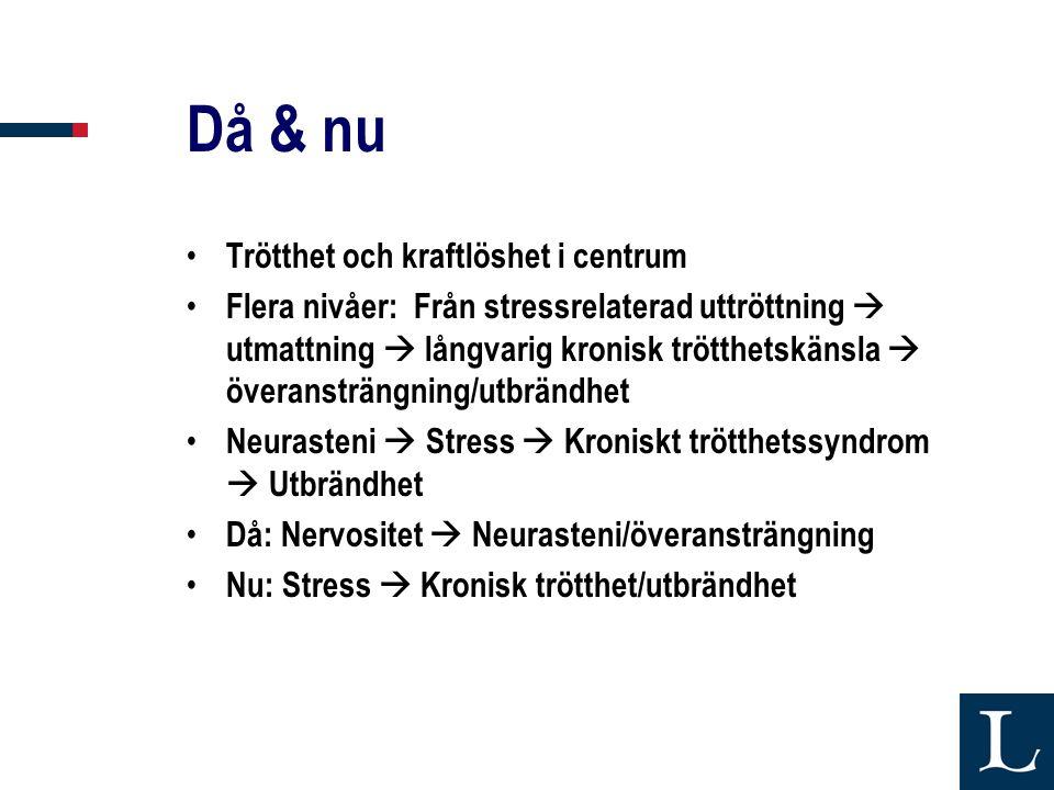 Då & nu • Trötthet och kraftlöshet i centrum • Flera nivåer: Från stressrelaterad uttröttning  utmattning  långvarig kronisk trötthetskänsla  överansträngning/utbrändhet • Neurasteni  Stress  Kroniskt trötthetssyndrom  Utbrändhet • Då: Nervositet  Neurasteni/överansträngning • Nu: Stress  Kronisk trötthet/utbrändhet