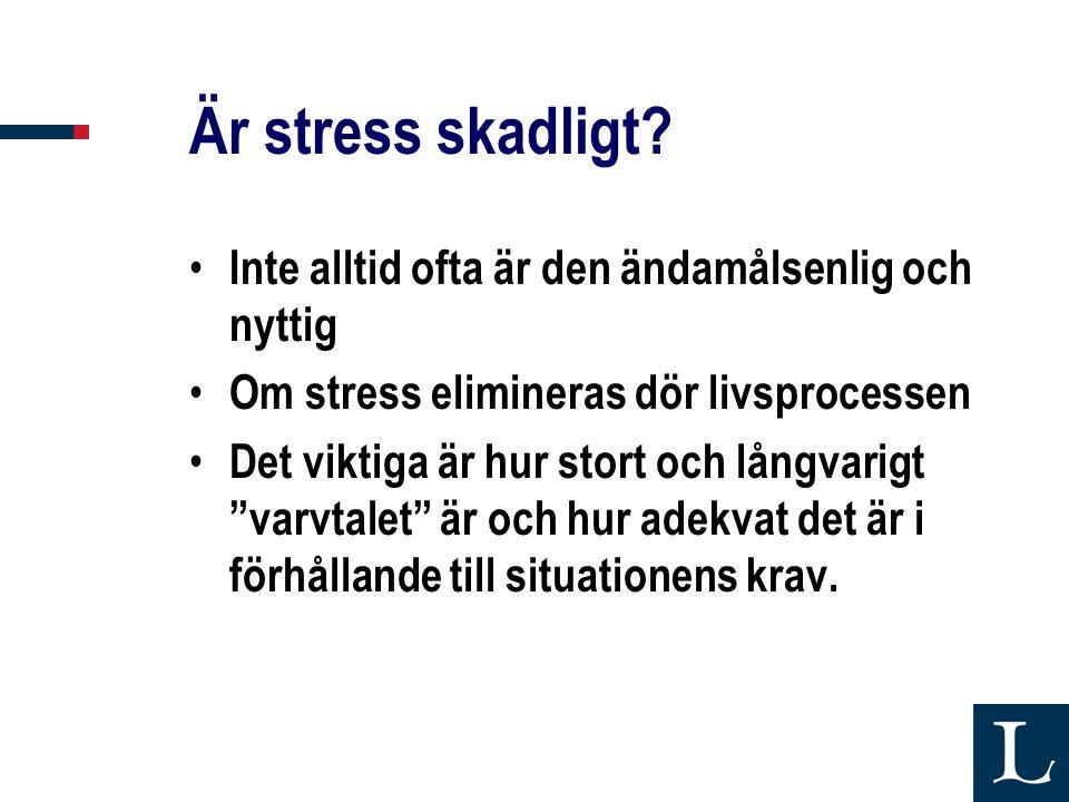 Är stress skadligt? • Inte alltid ofta är den ändamålsenlig och nyttig • Om stress elimineras dör livsprocessen • Det viktiga är hur stort och långvar