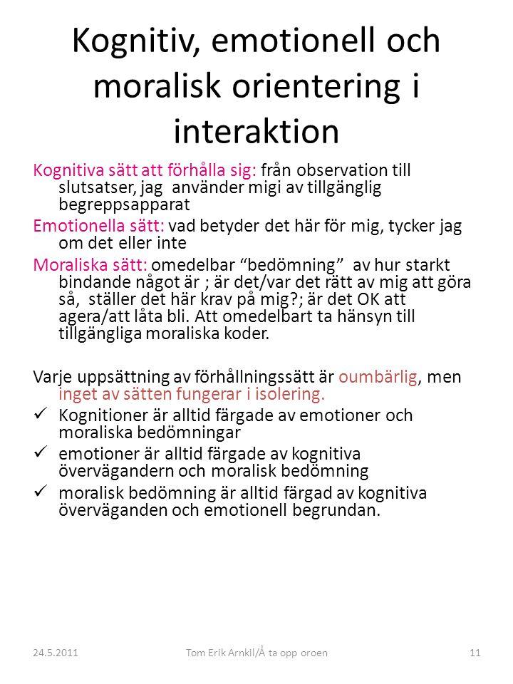 24.5.2011Tom Erik Arnkil/Å ta opp oroen11 Kognitiv, emotionell och moralisk orientering i interaktion Kognitiva sätt att förhålla sig: från observation till slutsatser, jag använder migi av tillgänglig begreppsapparat Emotionella sätt: vad betyder det här för mig, tycker jag om det eller inte Moraliska sätt: omedelbar bedömning av hur starkt bindande något är ; är det/var det rätt av mig att göra så, ställer det här krav på mig?; är det OK att agera/att låta bli.
