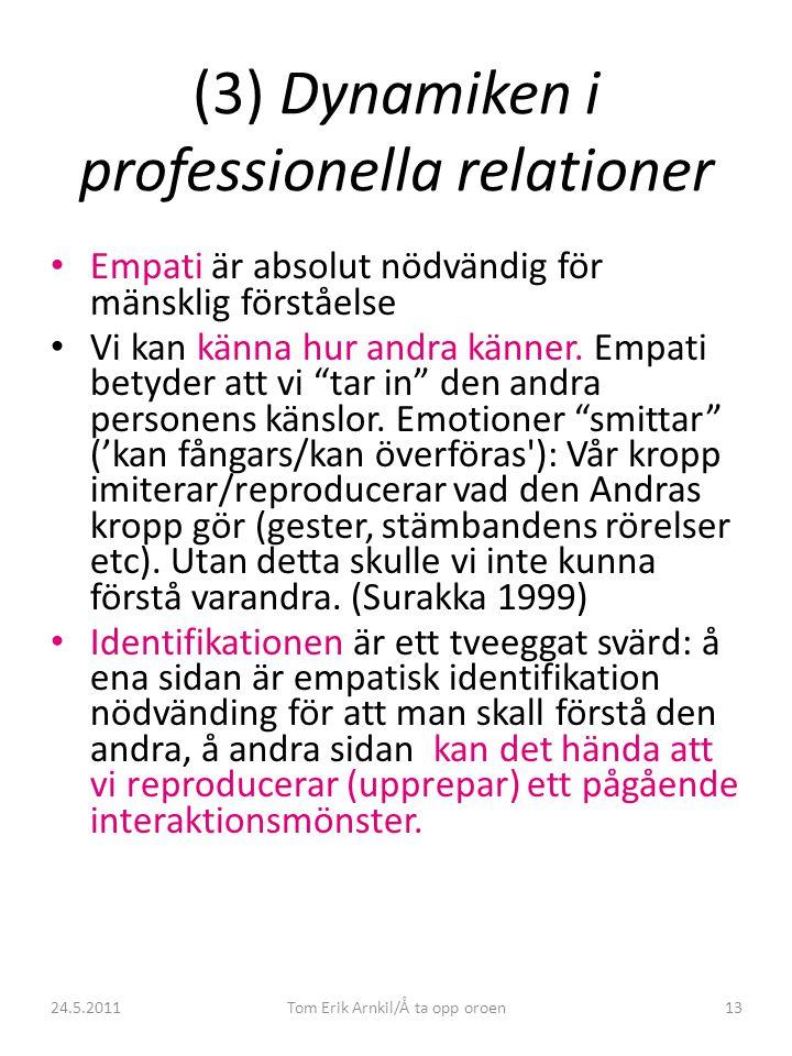 24.5.2011Tom Erik Arnkil/Å ta opp oroen13 (3) Dynamiken i professionella relationer • Empati är absolut nödvändig för mänsklig förståelse • Vi kan kän