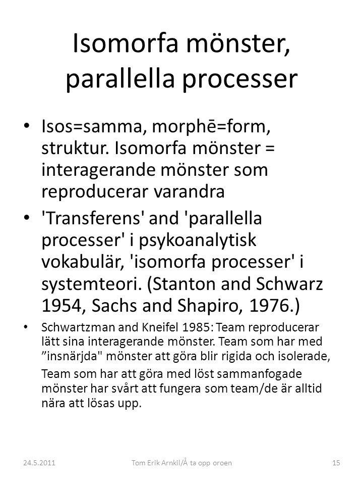 24.5.2011Tom Erik Arnkil/Å ta opp oroen15 Isomorfa mönster, parallella processer • Isos=samma, morphē=form, struktur. Isomorfa mönster = interagerande