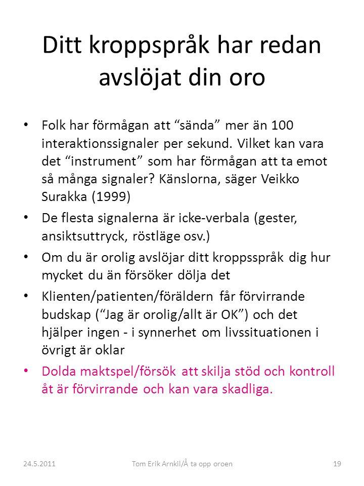 """24.5.2011Tom Erik Arnkil/Å ta opp oroen19 Ditt kroppspråk har redan avslöjat din oro • Folk har förmågan att """"sända"""" mer än 100 interaktionssignaler p"""