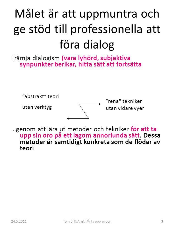 24.5.2011Tom Erik Arnkil/Å ta opp oroen3 Målet är att uppmuntra och ge stöd till professionella att föra dialog Främja dialogism (vara lyhörd, subjekt