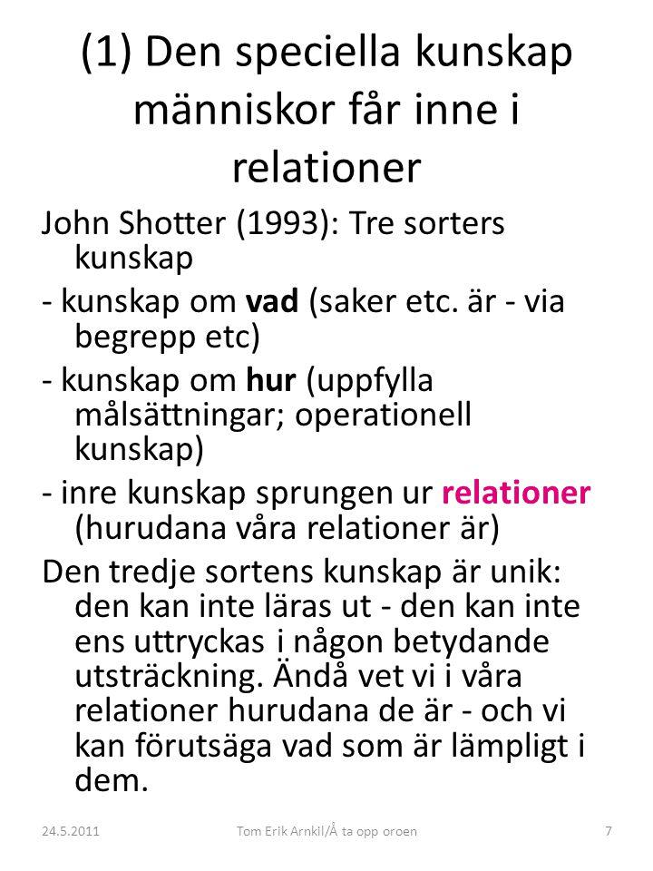 24.5.2011Tom Erik Arnkil/Å ta opp oroen7 (1) Den speciella kunskap människor får inne i relationer John Shotter (1993): Tre sorters kunskap - kunskap om vad (saker etc.