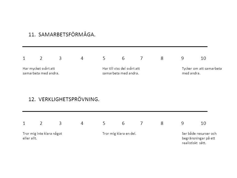 11.SAMARBETSFÖRMÅGA. 12. VERKLIGHETSPRÖVNING.
