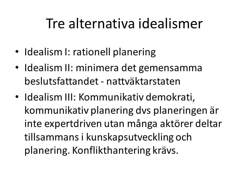 Tre alternativa idealismer • Idealism I: rationell planering • Idealism II: minimera det gemensamma beslutsfattandet - nattväktarstaten • Idealism III
