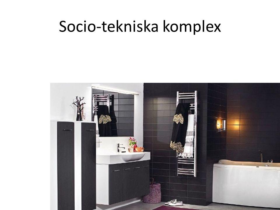 • Sociala normer och teknik är sammankopplade, t ex vattentoalett, tvättmaskin, reningsverk, vattenförsörjning, tvål, rengöringsmedel, hygienföreställningar, badrumsdesign (färg, material, form), umgängesformer • Nya sociala normer och ny teknik är beroende av tidigare sociala normer och tidigare teknik • Kostnader av oönskade effekter av en viss teknik vägs mot kostnaden för att skapa ett helt nytt tekniskt komplex men vi kan ju inte återgå till utedass… • Ett socio-tekniskt komplex växer fram gradvis tills det är så inflätat i samhällskroppen att det inte anses gå att förändra