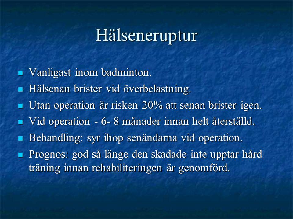 Hälseneruptur  Vanligast inom badminton. Hälsenan brister vid överbelastning.