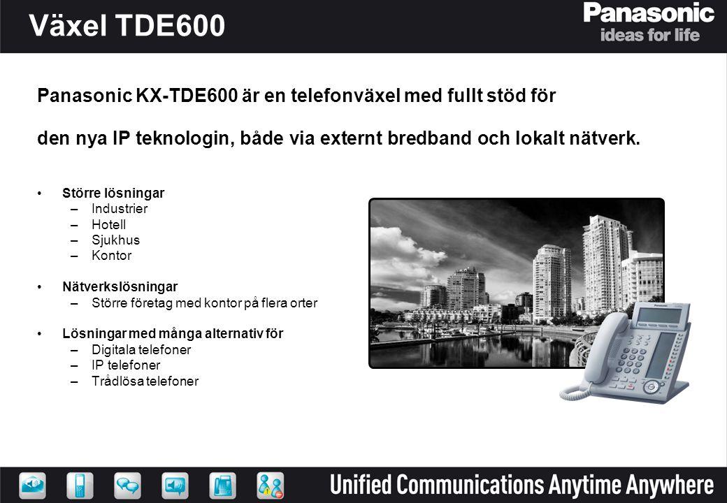 KX-TDE600 – Modulärt och skalbart KX-TDE600 KX-TDE600 + TDE620 KX-TDE600 + 3 x TDE620 KX-TDE600 + 2 x TDE620 360 användare 1- kabinett 600 användare 2-kabinett 900 användare 3-kabinett 1100 användare 4-kabinett 368 ansl utan DXDP 432 ansl med DXDP 608 Ansl utan DXDP 736 ansl med DXDP 992 Ansl utan DXDP 1152 Ansl med DXDP 848 Ansl utan DXDP 1008 Ansl med DXDP