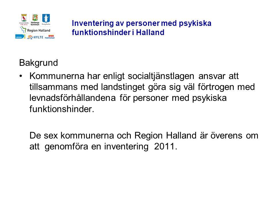 Inventering av personer med psykiska funktionshinder i Halland Bakgrund •Kommunerna har enligt socialtjänstlagen ansvar att tillsammans med landstinge