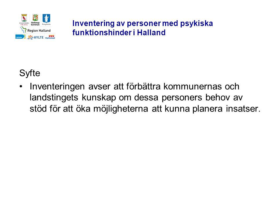 Inventering av personer med psykiska funktionshinder i Halland Syfte •Inventeringen avser att förbättra kommunernas och landstingets kunskap om dessa