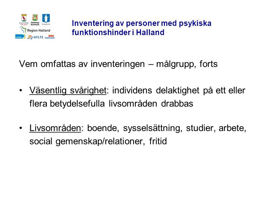 Inventering av personer med psykiska funktionshinder i Halland Vem omfattas av inventeringen – målgrupp, forts •Väsentlig svårighet: individens delakt