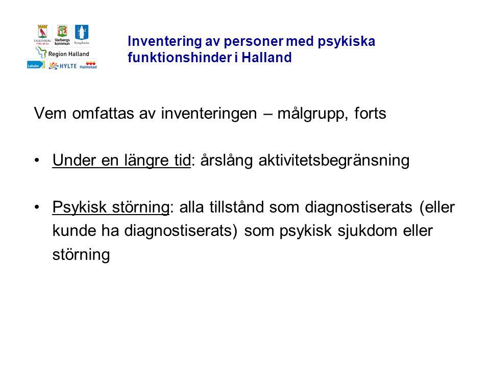 Inventering av personer med psykiska funktionshinder i Halland Vem omfattas av inventeringen – målgrupp, forts •Under en längre tid: årslång aktivitet