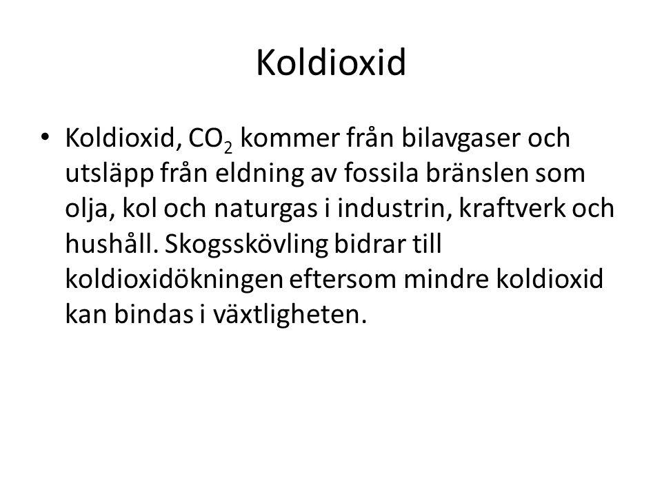 Koldioxid • Koldioxid, CO 2 kommer från bilavgaser och utsläpp från eldning av fossila bränslen som olja, kol och naturgas i industrin, kraftverk och