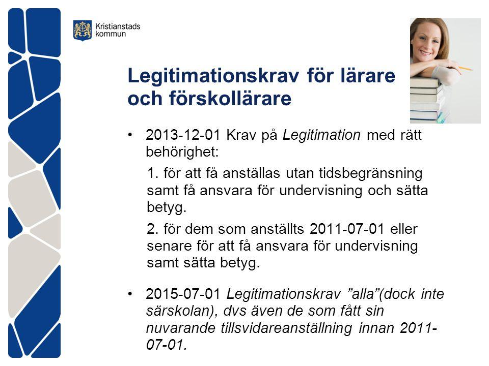 Legitimationskrav för lärare och förskollärare •2013-12-01 Krav på Legitimation med rätt behörighet: 1. för att få anställas utan tidsbegränsning samt