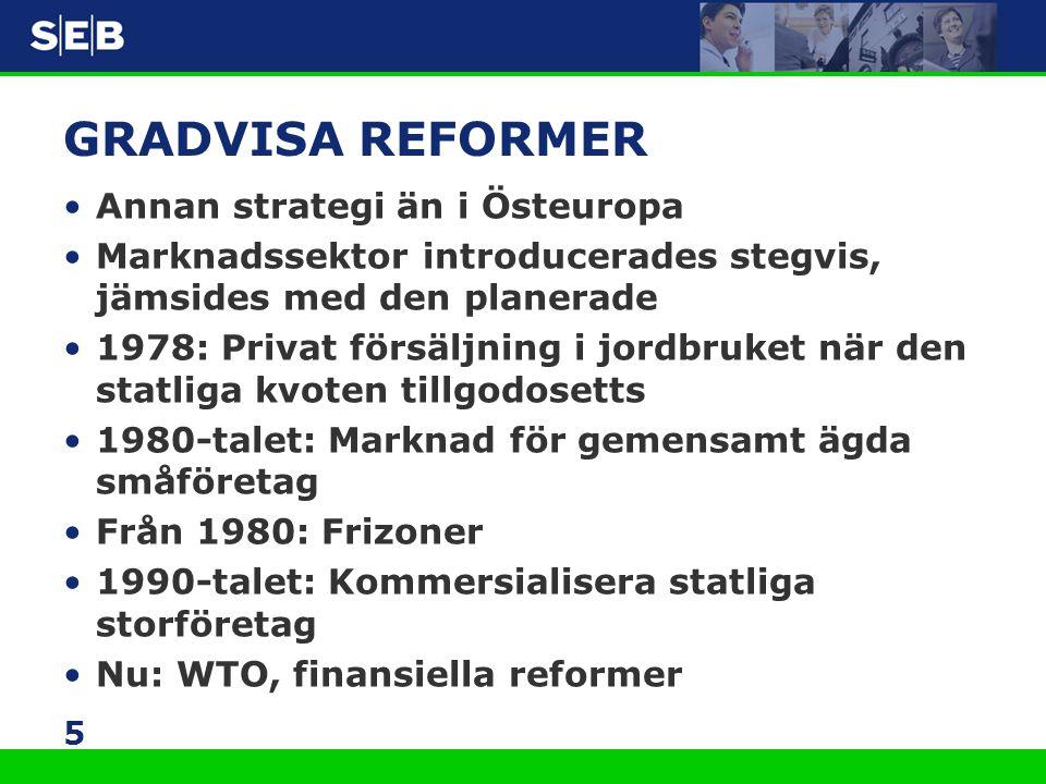 5 GRADVISA REFORMER •Annan strategi än i Östeuropa •Marknadssektor introducerades stegvis, jämsides med den planerade •1978: Privat försäljning i jord