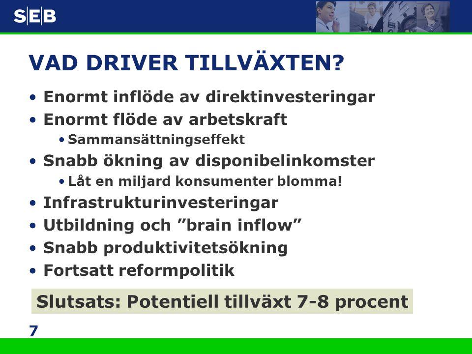 7 VAD DRIVER TILLVÄXTEN? •Enormt inflöde av direktinvesteringar •Enormt flöde av arbetskraft •Sammansättningseffekt •Snabb ökning av disponibelinkomst