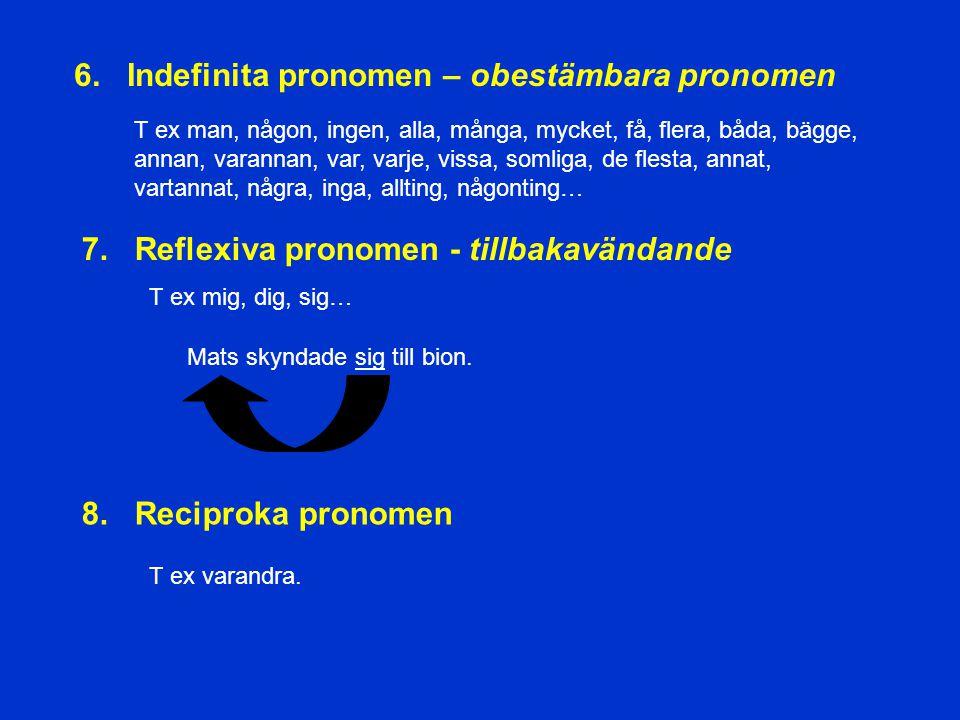 2. Possessiva pronomen - ägande T ex min, mitt, din, ditt, vår, vårt, våra, er, ert, era, hans, hennes, dess, deras… 3. Demonstrativa pronomen - utpek