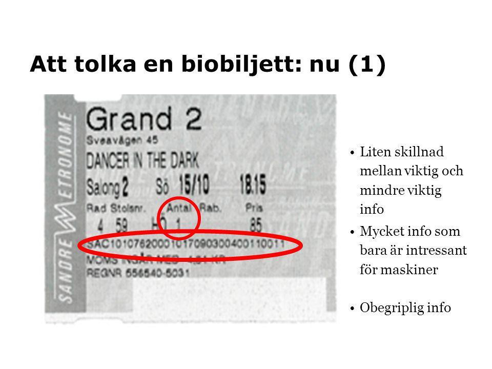 Att tolka en biobiljett: nu (1) •Liten skillnad mellan viktig och mindre viktig info •Mycket info som bara är intressant för maskiner •Obegriplig info