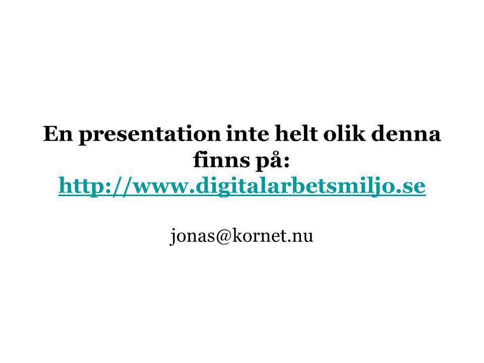 En presentation inte helt olik denna finns på: http://www.digitalarbetsmiljo.se jonas@kornet.nu http://www.digitalarbetsmiljo.se