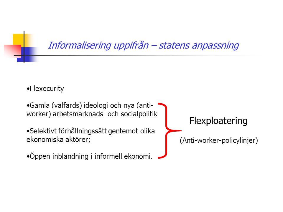 Informalisering uppifrån – statens anpassning •Flexecurity •Gamla (välfärds) ideologi och nya (anti- worker) arbetsmarknads- och socialpolitik •Selekt