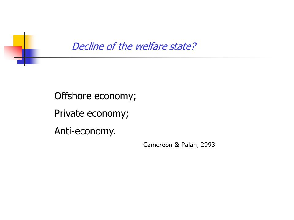 Decline of the welfare state. Offshore economy; Private economy; Anti-economy.