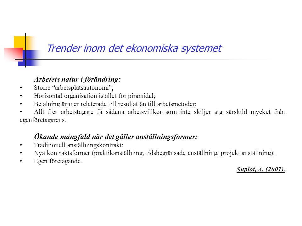 """Trender inom det ekonomiska systemet Arbetets natur i förändring: •Större """"arbetsplatsautonomi""""; •Horisontal organisation istället för piramidal; •Bet"""