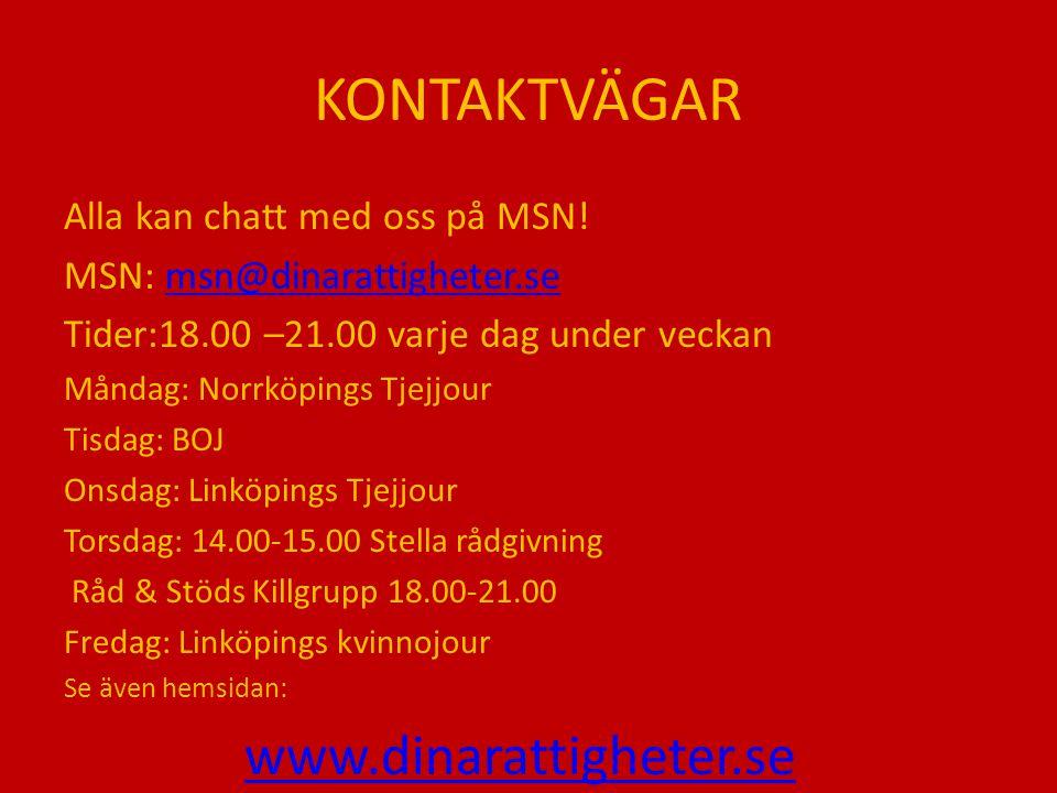 KONTAKTVÄGAR Alla kan chatt med oss på MSN! MSN: msn@dinarattigheter.semsn@dinarattigheter.se Tider:18.00 –21.00 varje dag under veckan Måndag: Norrkö