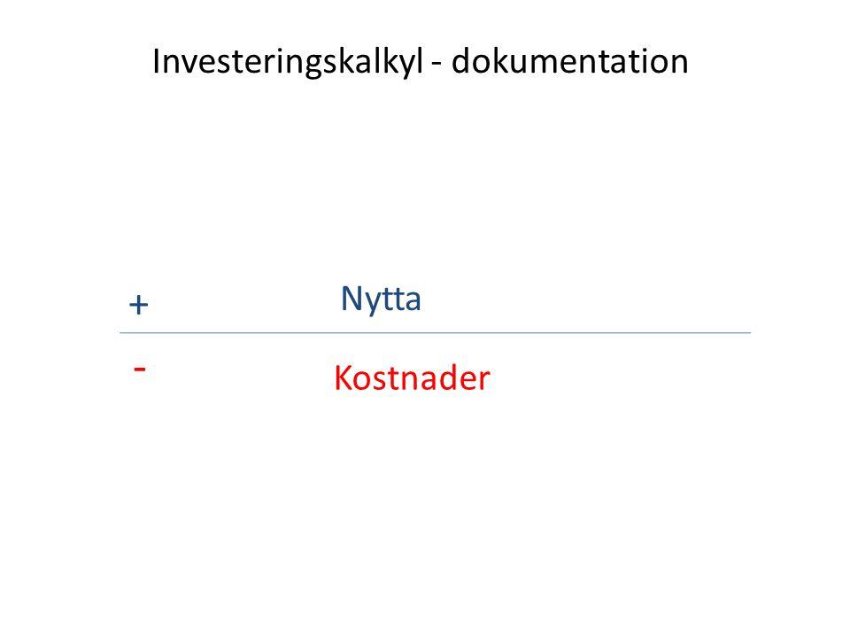 Investeringskalkyl - dokumentation + - Nytta Kostnader