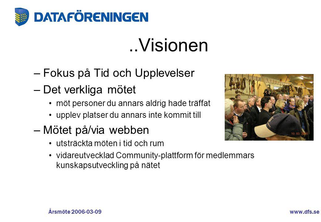 www.dfs.se Årsmöte 2006-03-09..Visionen –Fokus på Tid och Upplevelser –Det verkliga mötet •möt personer du annars aldrig hade träffat •upplev platser