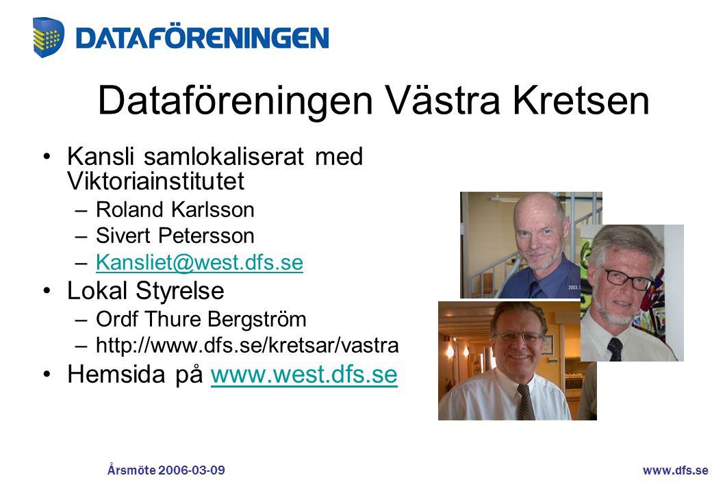 www.dfs.se Årsmöte 2006-03-09 Dataföreningen Västra Kretsen •Kansli samlokaliserat med Viktoriainstitutet –Roland Karlsson –Sivert Petersson –Kansliet