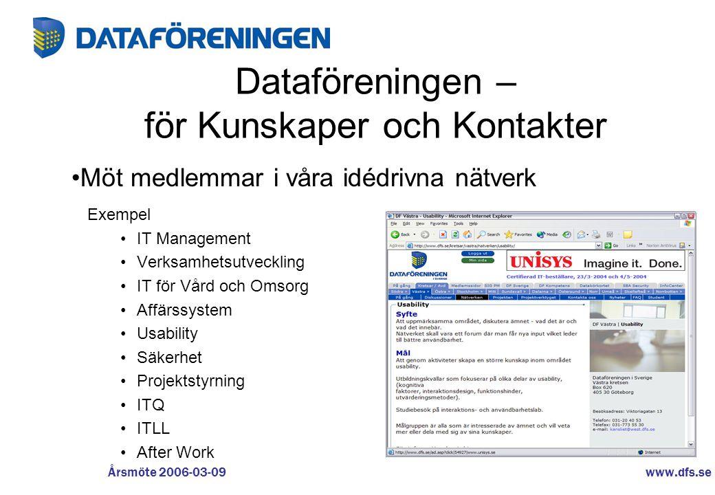 www.dfs.se Årsmöte 2006-03-09 Dataföreningen – för Kunskaper och Kontakter Exempel •IT Management •Verksamhetsutveckling •IT för Vård och Omsorg •Affä