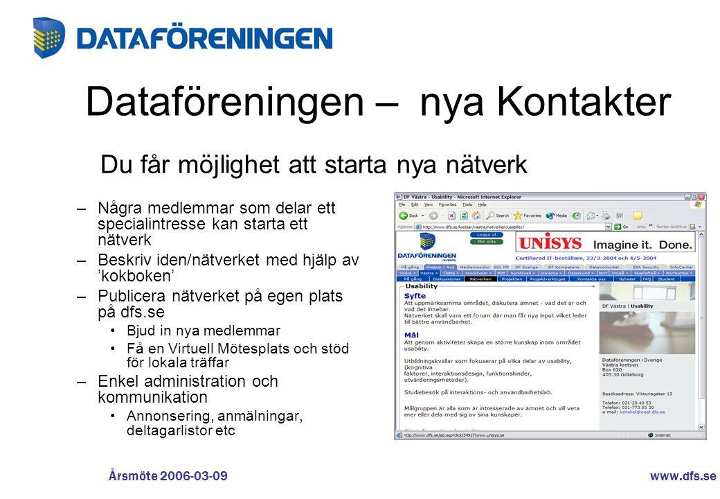 www.dfs.se Årsmöte 2006-03-09 Dataföreningen – nya Kontakter –Några medlemmar som delar ett specialintresse kan starta ett nätverk –Beskriv iden/nätve