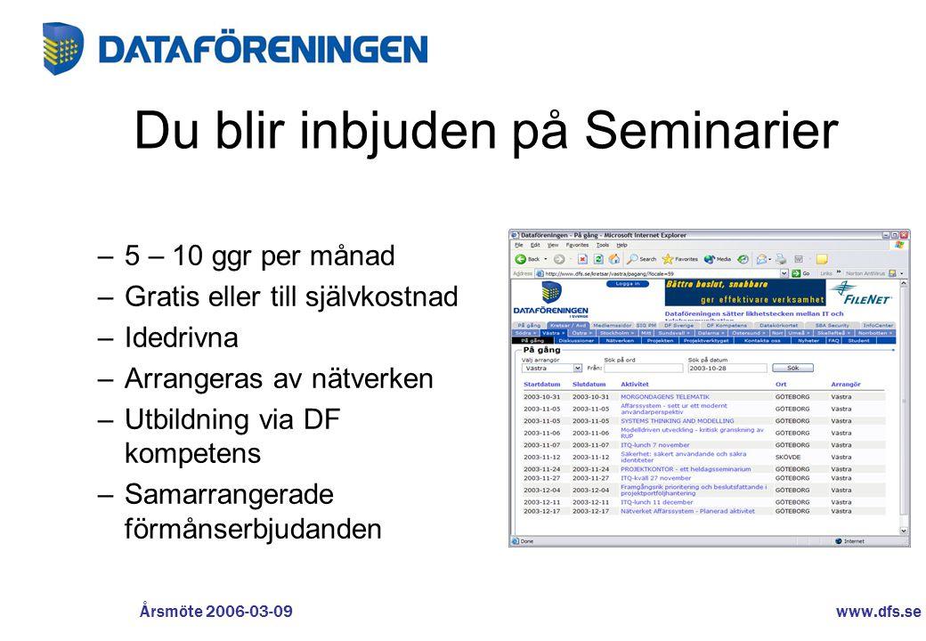 www.dfs.se Årsmöte 2006-03-09 Du blir inbjuden på Seminarier –5 – 10 ggr per månad –Gratis eller till självkostnad –Idedrivna –Arrangeras av nätverken