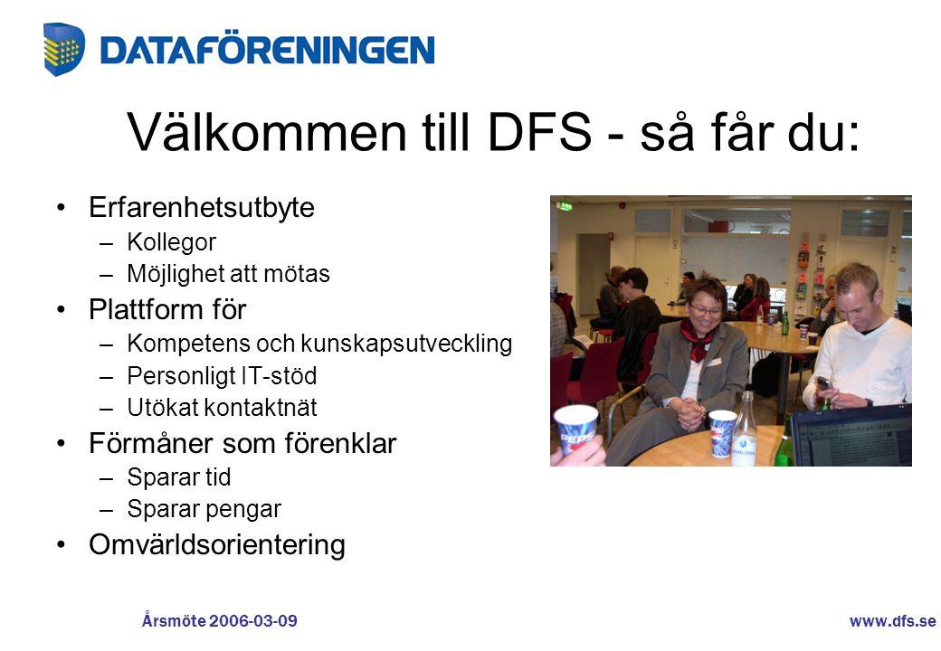 www.dfs.se Årsmöte 2006-03-09 Välkommen till DFS - så får du: •Erfarenhetsutbyte –Kollegor –Möjlighet att mötas •Plattform för –Kompetens och kunskaps
